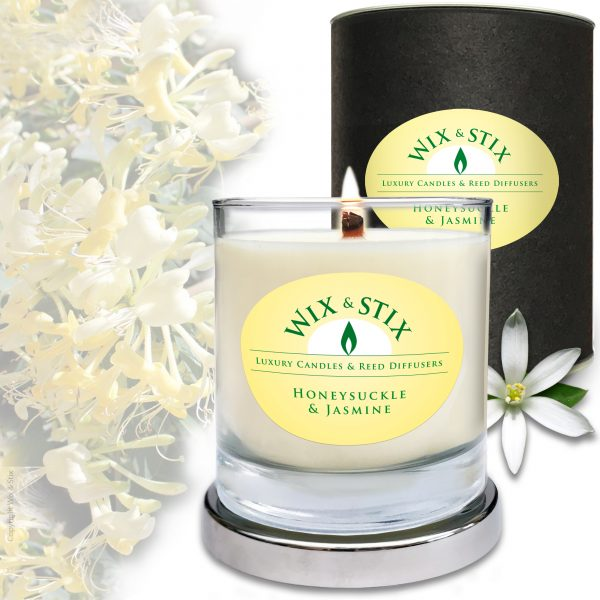 Soy Wax Honeysuckle & Jasmine Candle with WoodWix