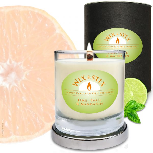 Lime Basil & Mandarin Candle with Woodwix