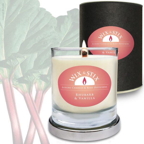 Soy Wax Rhubarb & Vanilla Woodwix Candle