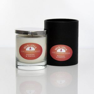 rhubarb and vanilla luxury soy wax candle