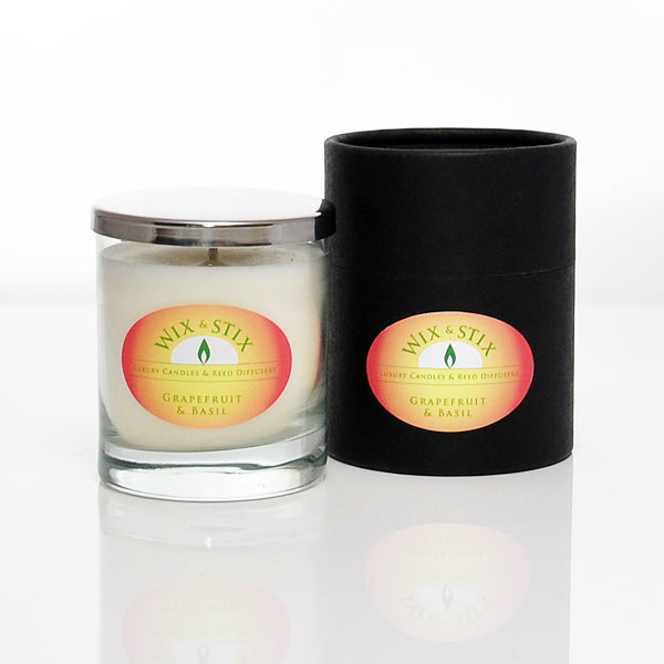 grapefruit and basil luxury soy wax candle