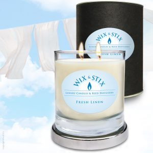 Fresh Linen Soy Wax Candle With DoubleWix