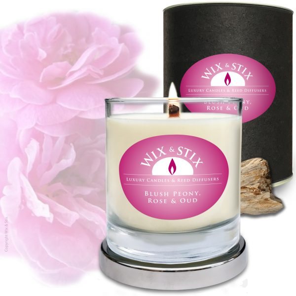 Blush peony Rose & Oud Soy Wax Candle