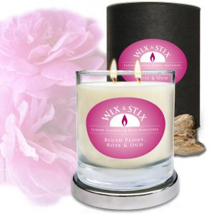 Blush peony Rose & Oud Soy wax Candle with DoubleWix