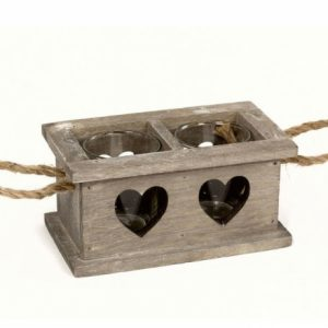 2 Space Rustic Wooden Heart Tray With Rope Handles