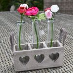 Wooden Heart Tray With Triple Vases
