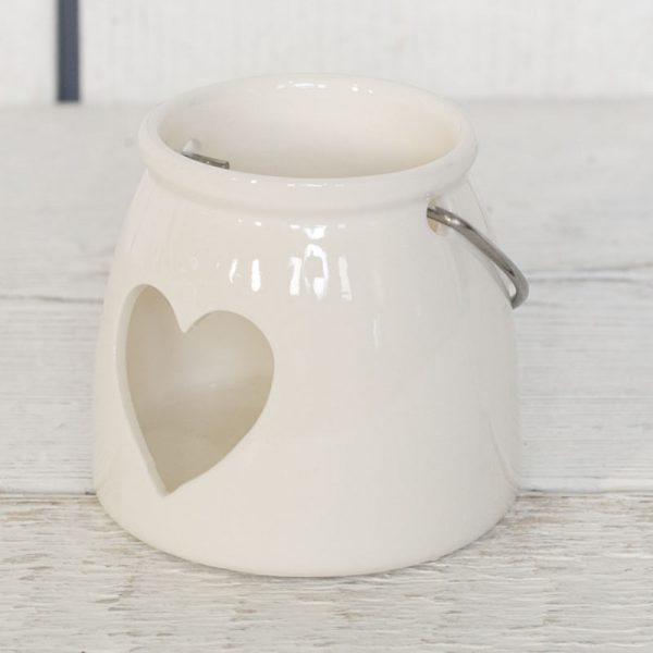 White Ceramic Heart T-light Holder