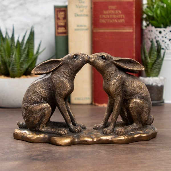 Bronzed Kissing Hares - Reflections