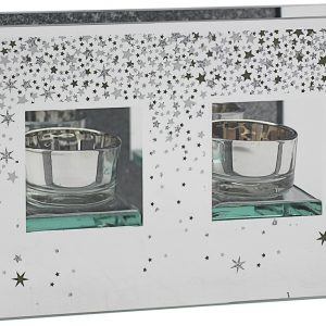 Glitter Stars T-Light Holder Double