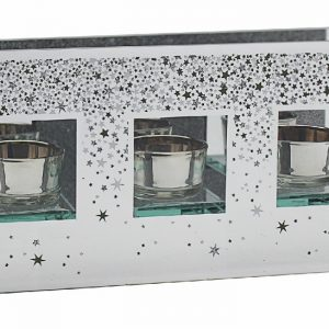 Glitter Stars T-Light Holder Triple