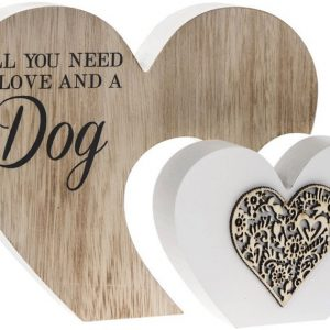 All You Need Is Love and a Dog Double Heart Plaque