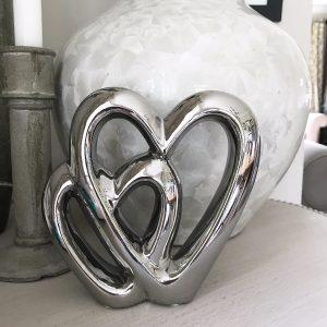 Silver Double Heart Ornament 15cm