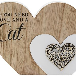 All You Need Is Love and a Cat Double Heart Plaque