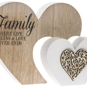 Family Where Life Begins and Love Never Ends Double Heart Plaque