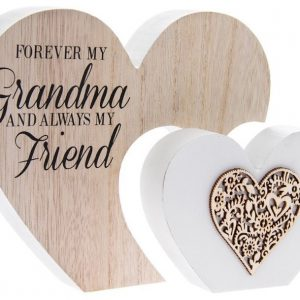 Forever My Grandma and Always My Friend Double Heart Plaque