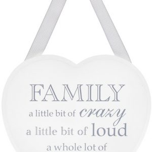 Family a Little Bit of Crazy White Heart Plaque