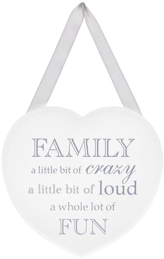 Family a Little Bit of Crazy White Heart Plaque