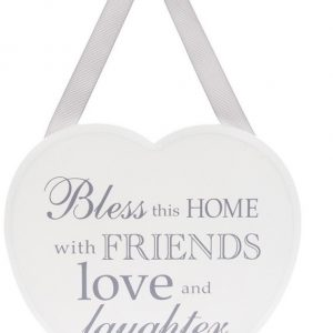 Bless This Home White Heart Plaque