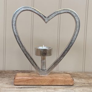Aluminium Heart T-Light Holder 25cm