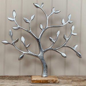 Silver Aluminium Tree on Wooden base 44cm