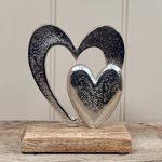 Aluminium Double Heart Ornament 15cm