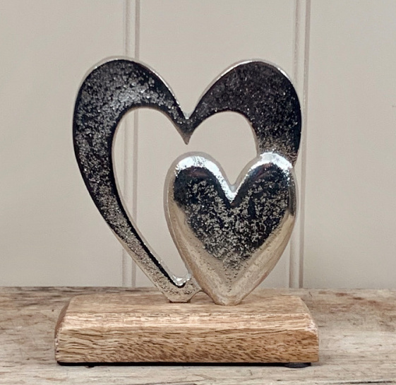 Aluminium Double Heart Ornament 15cm