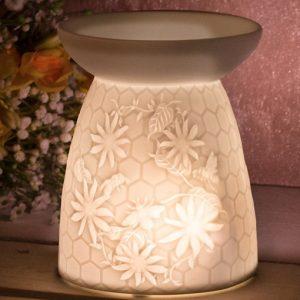 Honeycomb Bees Ceramic T-Light Holder