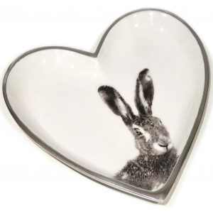 Grey Hare Heart Plate 18cm