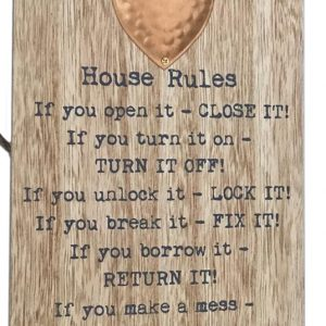 House Rules Hanging Metal Heart Plaques
