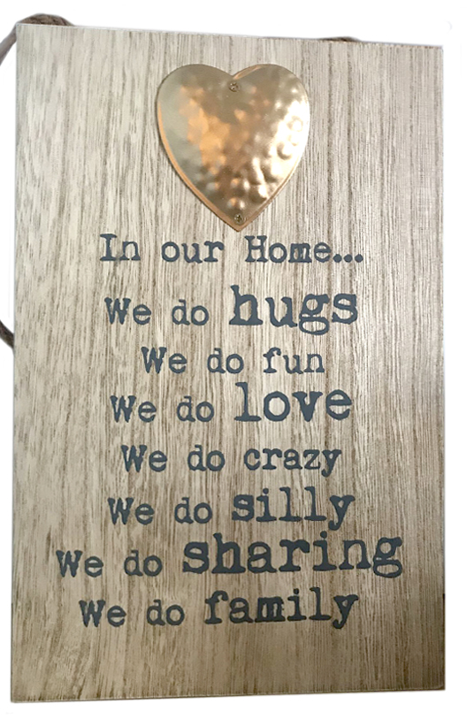 In Our Home Hanging Metal Heart Plaques 24cm